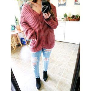Vintage mauve plush sweater cardigan 🍂